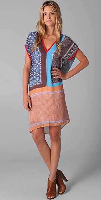 Clover Canyon V Neck Multi Print Dress