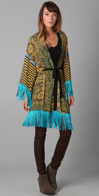 Clover Canyon Print Jacket with Fringe