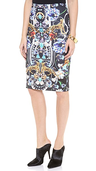 Clover Canyon Gold Panther Pencil Skirt