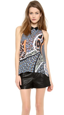 Clover Canyon Cuban Tile Collared Sleeveless Top