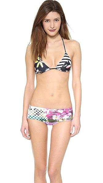 Clover Canyon Floral Discs Bikini Top