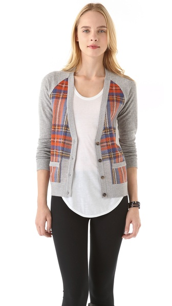 Clu Plaid Colorblock Cardigan