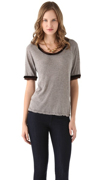 Clu Velvet Trimmed Top