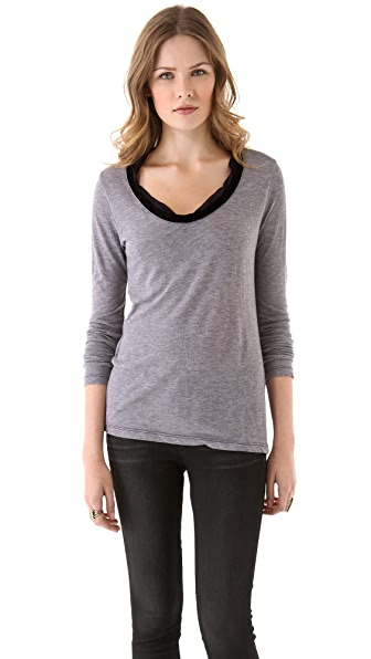Clu Velvet Trimmed Long Sleeve Top