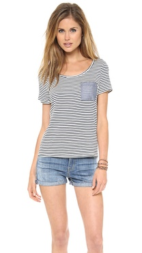 Clu Clu Too Mix Media Color Block Top