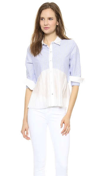 Clu Striped Pleated Top