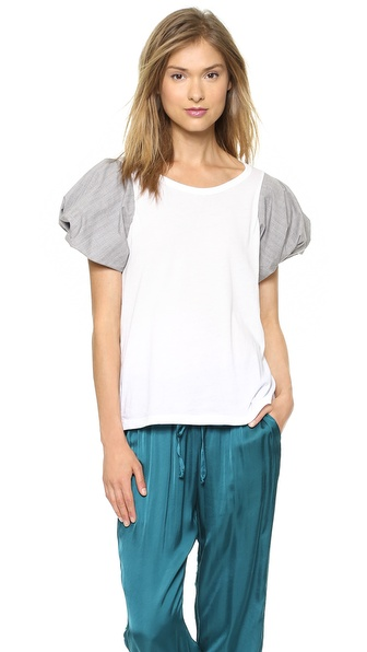 Clu Glencheck Puff Sleeve Top