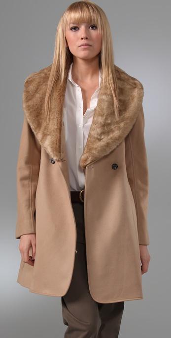 Club Monaco Vera Coat with Faux Fur Collar