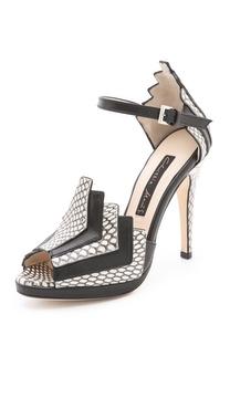 Chrissie Morris La Roisin Snakeskin Sandals