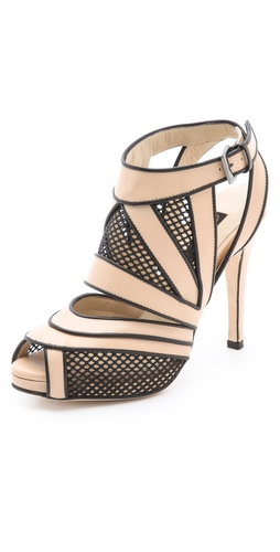 Chrissie Morris Sunburst Black Net Heels