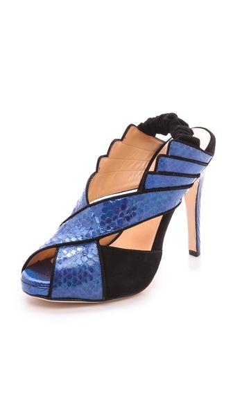 Chrissie Morris Tellier Holographic Python Sandals