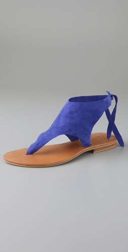 Cocobelle Suede Tie Thong Sandals