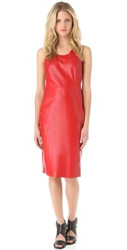 CoSTUME NATIONAL Leather Sheath Dress