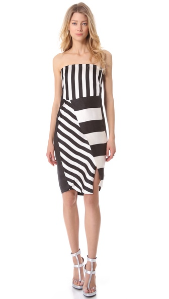 CoSTUME NATIONAL Black & White Strapless Dress