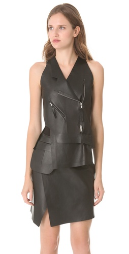 CoSTUME NATIONAL Leather Zip Vest :  costume national leather zip vest costume national vest costume national