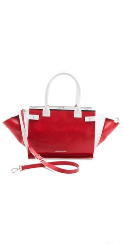 CoSTUME NATIONAL Red & White Satchel at Shopbop.com