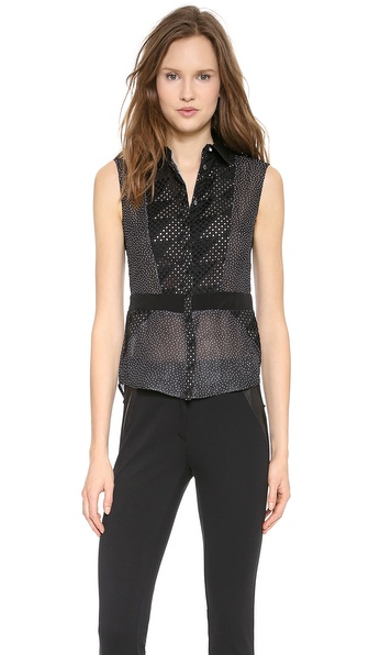 CoSTUME NATIONAL Sleeveless Silk & Eyelet Shirt