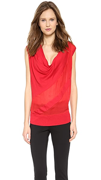 CoSTUME NATIONAL Sleeveless Silk Insert Pullover