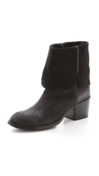 Shop CoSTUME NATIONAL online and buy Costume National Fold Over Booties - Grey-Black - Two tone suede lends rich dimension to these edgy, fold over CoSTUME NATIONAL booties. Rounded toe. Pull on construction. Stacked heel. Nonslip rubber patch at leather sole. Leather: Calfskin. Made in Italy. Measurements Heel: 2in / 50mm Shaft 1: 6in / 15cm Shaft 2: 10in / 25.5cm. Available sizes: 36,36.5,37,37.5,38,38.5,39,39.5,40,40.5,41