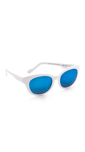Courreges Mirrored Oversized Sunglasses - White/Blue at Shopbop / East Dane