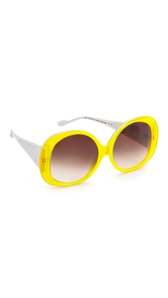 Courreges Glam Oversized Sunglasses - Yellow at Shopbop / East Dane