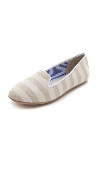 Charles Philip Tropez Cotton Stripe Flats