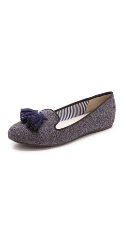 Shop Charles Philip online and buy Charles Philip Lana Tassel Loafers - Charles Philip's classic smoking slippers, updated in brushed tweed. Contrast piping and velvet tassel-trimmed vamp. Synthetic sole.  Imported, China. This item cannot be gift-boxed. - Blue Granite