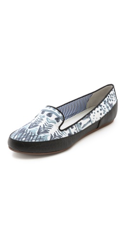 Shop Charles Philip online and buy Charles Philip Gaby Aztec Print Flats - Snake-embossed, faux leather trim lends relaxed structure to satin Charles Philip loafers, detailed with a watercolor-inspired pattern. Grosgrain piping trims the notched top line. Synthetic sole.  Imported, China. This item cannot be gift-boxed. - Aztec Grey