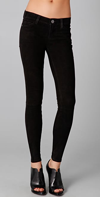 Current/Elliott The Ankle Suede Leather Skinny Pants