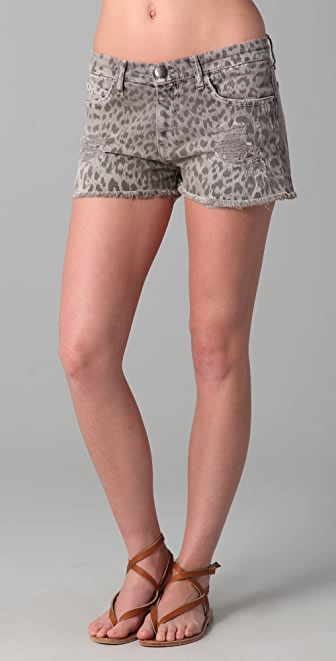 Current/Elliott Boyfriend Leopard Print Shorts