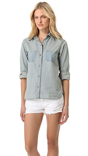 Current/Elliott The Perfect Shirt with Ripped Off Pockets