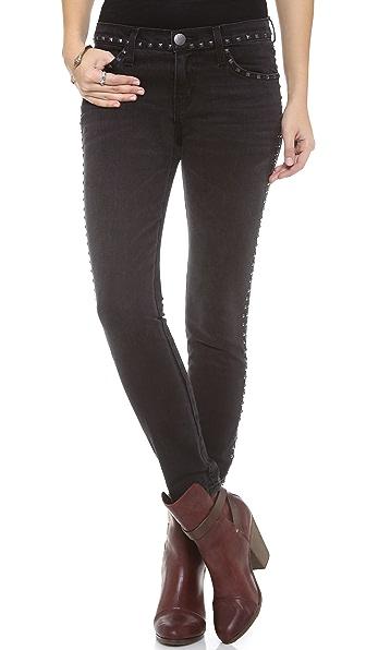Current/Elliott The Studded Crop Skinny Jeans