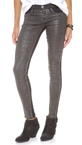 Current/Elliott The Python Coated Skinny Jeans