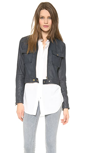Current/Elliott The Leather Moto Jacket