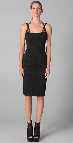 Cushnie et Ochs Moire Halter Dress with Elastic Detail