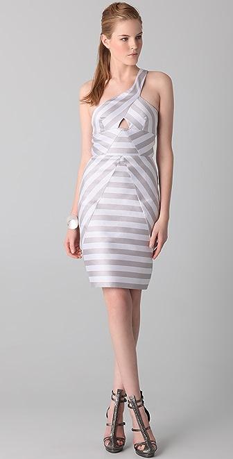 Cushnie et Ochs Cutout Striped Dress