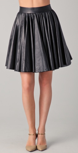 Cushnie et Ochs Leather Flare Skirt