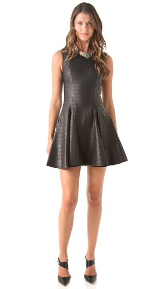 Cushnie et Ochs Croc Leather Dress