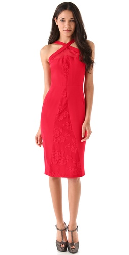 Cushnie et Ochs Crisscross Lace Dress