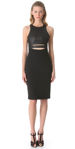 Cushnie et Ochs Pencil Dress with Leather Bodice