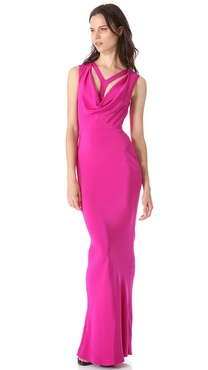 Cushnie et Ochs Sleeveless Cowl Neck Gown