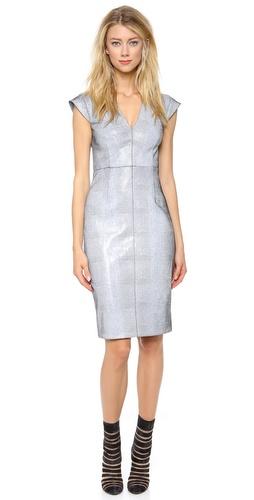 Cushnie et Ochs V Neck Leather Dress