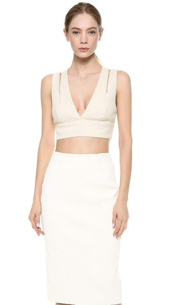 Cushnie et Ochs Sleeveless Fishnet Leather Bra Top