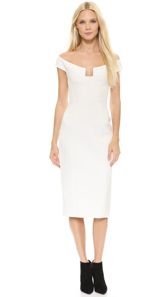 Cushnie Et Ochs Angular Neck Sheath Dress - White