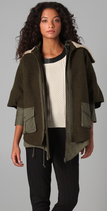 Cut25 by Yigal Azrouel Convertible Drape Back Coat