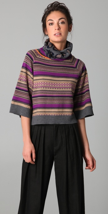 Cut25 by Yigal Azrouel Intarsia Turtleneck Sweater