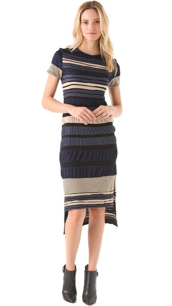 Cut25 by Yigal Azrouel Intarsia Striped Dress