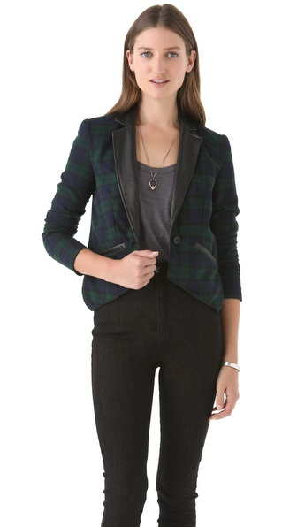 Cut25 by Yigal Azrouel Plaid Blazer with Leather