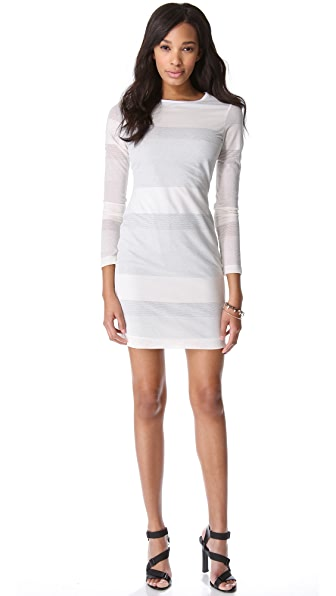 Cut25 by Yigal Azrouel Mesh Stripe Dress