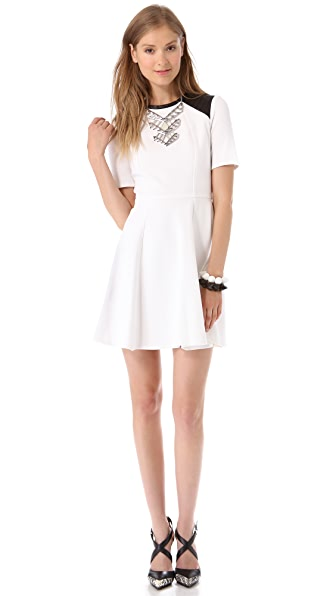 Cut25 by Yigal Azrouel Ponte Dress with Leather Shoulders